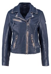 Gipsy Leather Jacket Denim Blue Dark Blue Denim