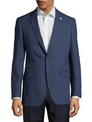 Ted Baker Houndstooth Wool Sportcoat Navy