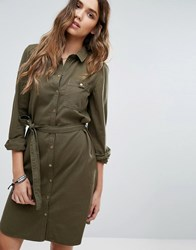 Vero Moda Long Sleeve Shirt Dress Khaki Green