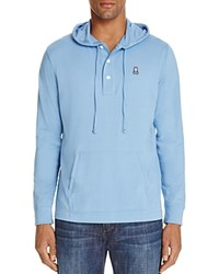 Psycho Bunny Button Placket Pullover Hoodie Sweatshirt Sky Blue