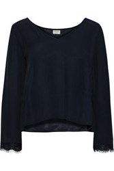 Charli Woman Sloan Lace Trimmed Crepe De Chine Blouse Midnight Blue