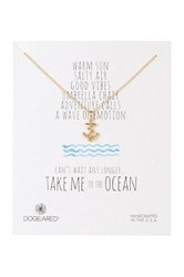 Dogeared 14K Sterling Silver Take Me To The Ocean Anchor Necklace Metallic
