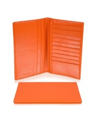 Giorgio Fedon Classica Collection Orange Calfskin Vertical Card Holder Wallet