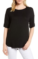 Gibson High Low Short Sleeve Top Black