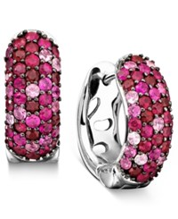 Effy Collection Balissima By Effy Pink Sapphire 1 3 8 Ct. T.W. And Ruby 1 3 8 Ct. T.W. Hoop Earrings In 18K Gold And Sterling Silver