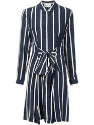 Ganni Striped Belted Shirt Dress Blue