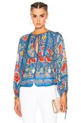 Roberto Cavalli Printed Woven Blouse In Blue Floral Blue Floral