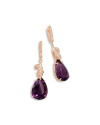 Frederic Sage 18K Rose Gold And Amethyst Leaf Earrings With Diamonds