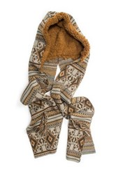 Muk Luks Geometric Hooded Scarf Brown