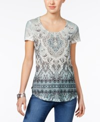 Style And Co Sublimated Print T Shirt Zen Surrounding