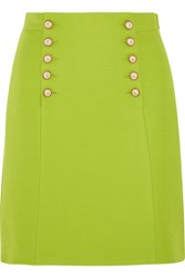 Gucci Faux Pearl Embellished Wool Crepe Mini Skirt Bright Green