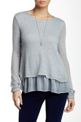Luma Double Layered Chiffon Trim Sweater Gray