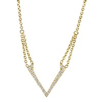 She Adorns Double Chain V Pendant Necklace Gold