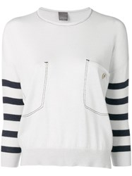 Lorena Antoniazzi Striped Sleeves Sweater White