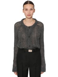 Prada Mohair Blend Knit Cardigan Dark Grey