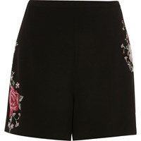 River Island Womens Black Embroidered High Waisted Shorts