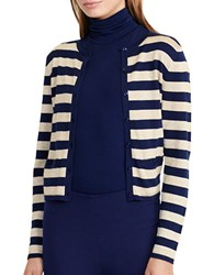Lauren Ralph Lauren Striped Metallic Cardigan Navy