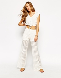 Mango Crochet Wide Leg Trouser White