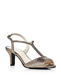 Caparros Delicia Metallic Satin Embellished Mid Heel Sandals Mushroom Silver