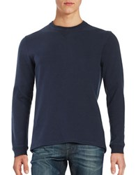Black Brown Long Sleeve Crewneck Top Classic Navy