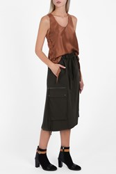 Helmut Lang Women S Smooth Cotton Skirt Boutique1 Khaki