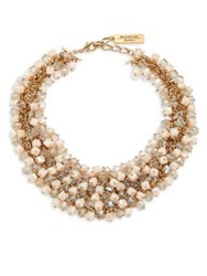 Max Mara Dialogo Beaded Collar Necklace Powder