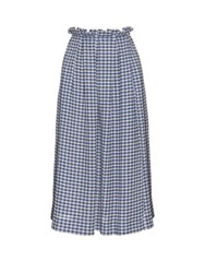 Mother Of Pearl Grace Gingham Check Skirt Blue White