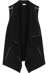 Vince Draped Leather Trimmed Stretch Felt Vest