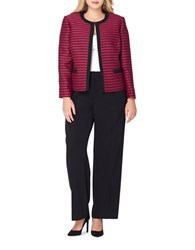 Tahari By Arthur S. Levine Plus Traditional Fit Striped Jacket And Solid Pants Suit