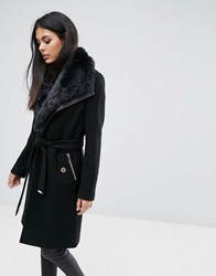 Lipsy Wool Mix Wrap Coat With Tie Waist And Faux Fur Trim Black