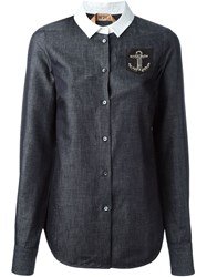 Nao21 Embellished Anchor Patch Shirt Blue