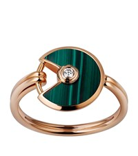 Cartier Extra Small Pink Gold And Malachite Amulette De Ring Multi