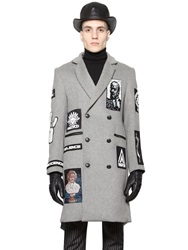 Ktz Patched Heavy Wool Coat Grey