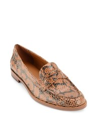 Lauren Ralph Lauren Barrett Prinked Snake Leather Penny Loafers Luggage