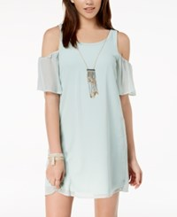 As U Wish Juniors' Cold Shoulder Shift Dress With Necklace Sage