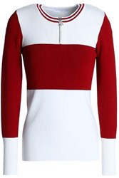 Sandro Color Block Knitted Top Off White Off White