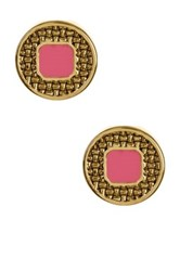 Ariella Collection Textured Round Stud Earrings Pink