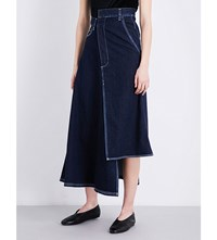 Miharayasuhiro Asymmetric High Rise Denim Skirt Indigo