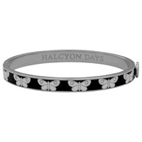 Halcyon Days Butterfly Skinny Bangle Black Silver