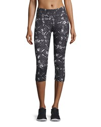 The Balance Collection Geometric Print Cropped Leggings Black Paint