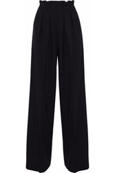 Stella Jean Pleated Wool Blend Wide Leg Pants Black