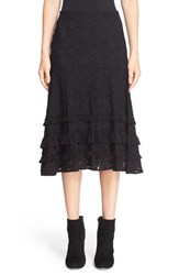 Fuzzi Women's Asymmetrical Ruffle Trim Floral Lace Skirt