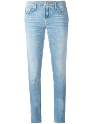 7 For All Mankind Stonewashed Skinny Jeans Blue