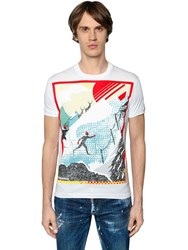 Dsquared Skiing Printed Cotton Jersey T Shirt