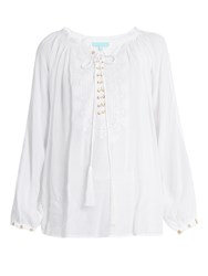 Melissa Odabash Alessandra Lace Up Embroidered Top White