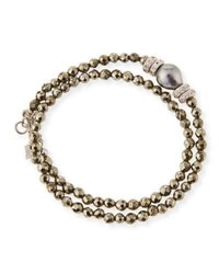 Armenta New World Tahitian Pearl And Diamond Wrap Bracelet Pyrite Champagne