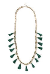 Topshop Bead And Tassel Long Necklace Green