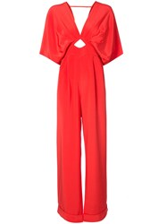 Johanna Ortiz Canna Cut Out Jumpsuit Silk Red