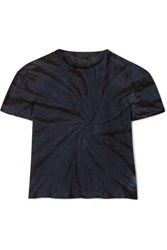 Rta Rain Cropped Tie Dyed Cotton And Cashmere Blend Jersey T Shirt Storm Blue