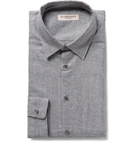 Burberry Slim Fit Prince Of Wales Check Cotton Shirt Gray